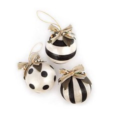 Mackenzie-Childs Golden Hour Geo Capiz Ball Ornaments, set of 3
