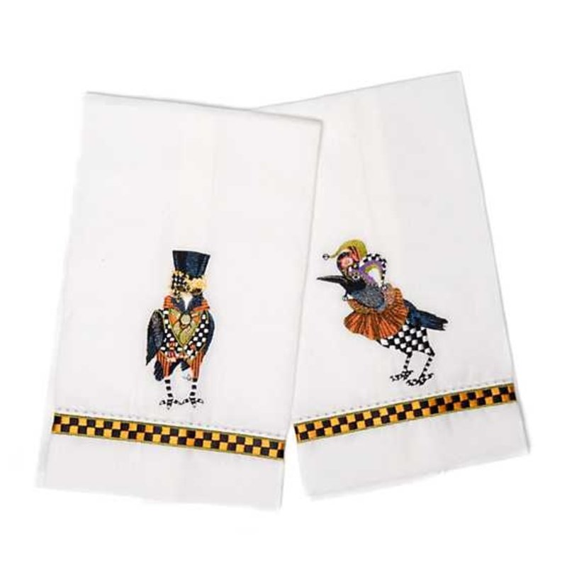 Mackenzie-Childs Masquerade Crows Guest Towels - Set of 2