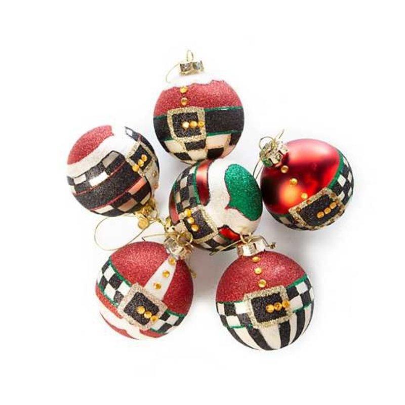 Mackenzie-Childs Belts & Buckles Glass Ball Ornaments - Set of 6