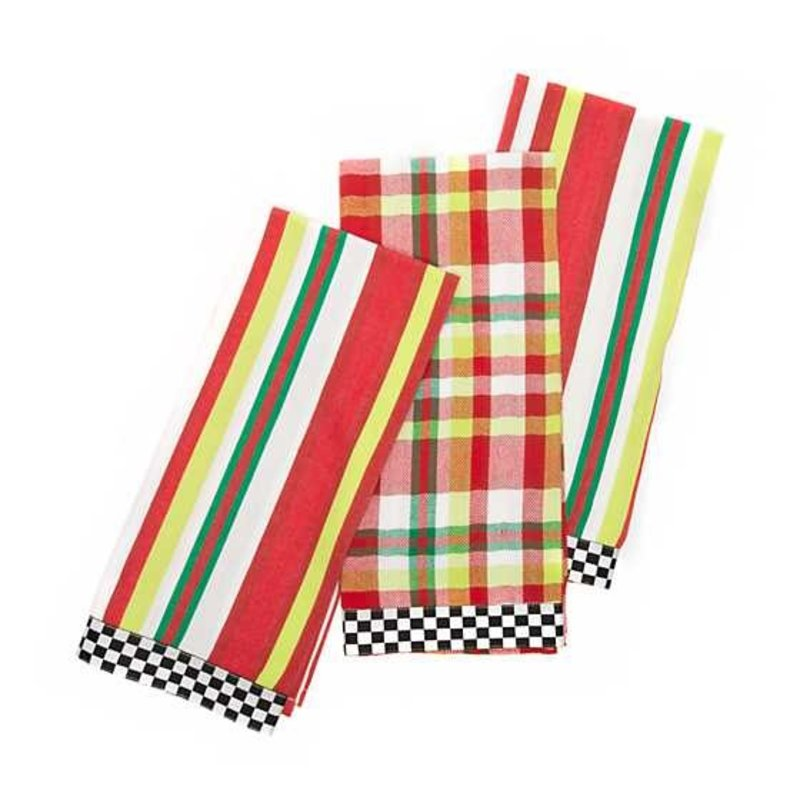 Mackenzie-Childs Jolly Woven Dish Towels - Set of 3