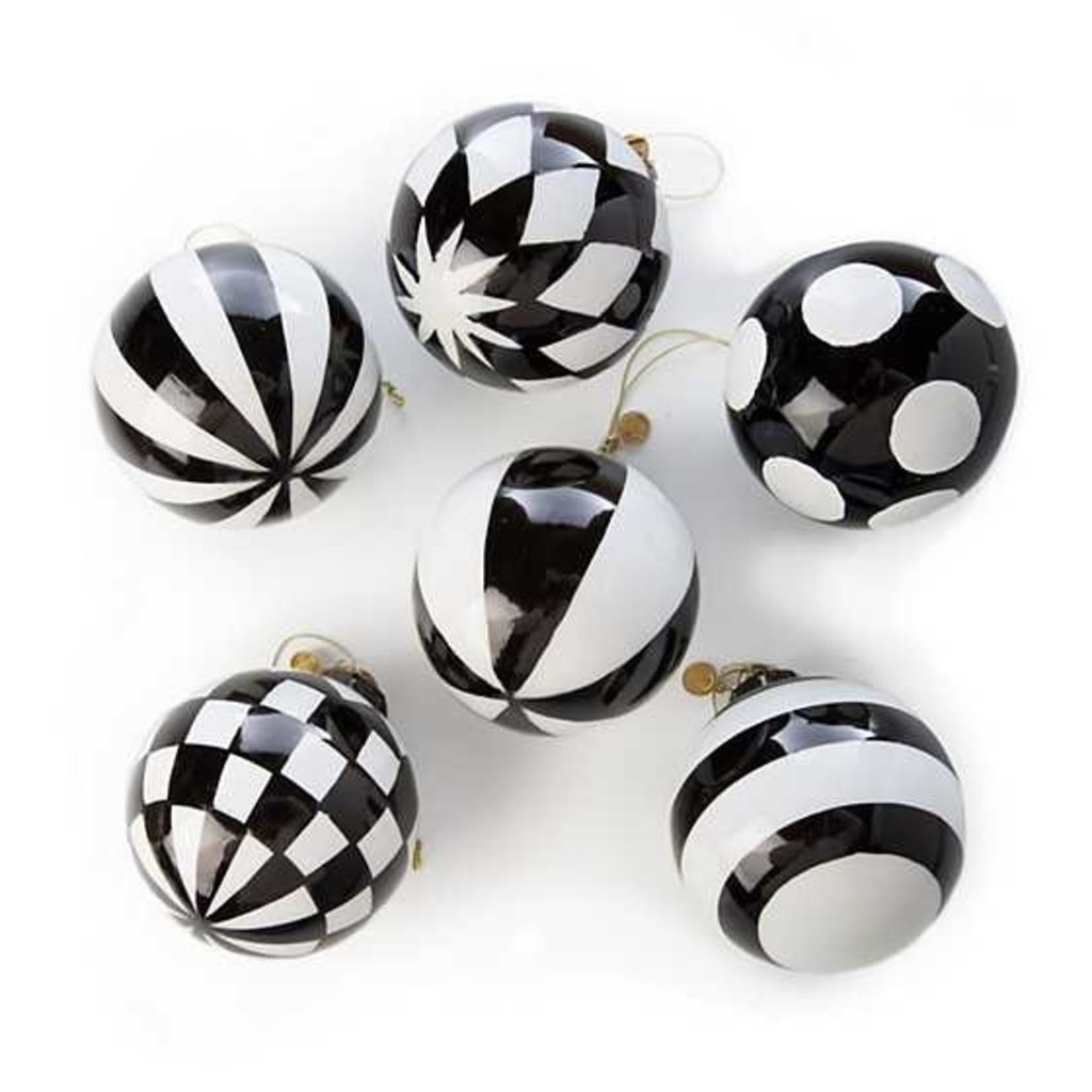 Mackenzie-Childs Checkmate Glass Ball Ornaments - Set of 6