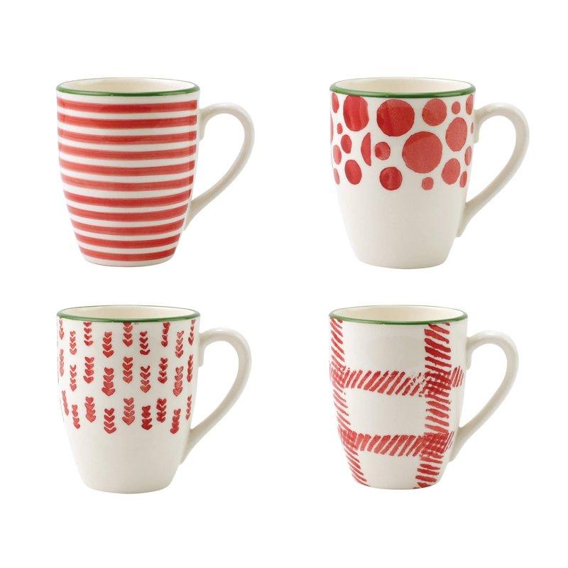Vietri Mistletoe Assorted Mugs - Set of 4