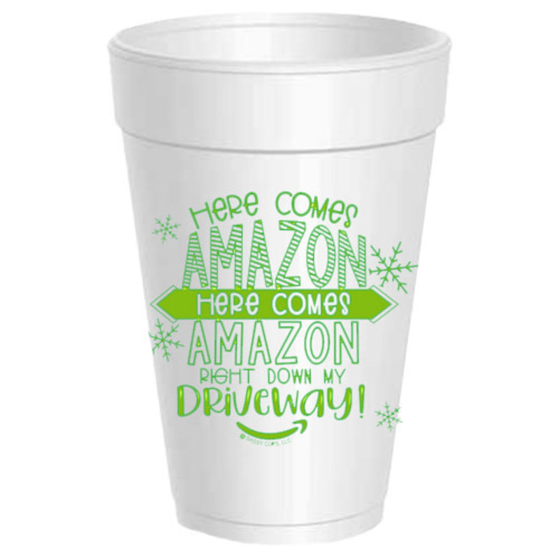 Sassy Cups Here Comes Amazon Styrofoam Cups (sleeve of 10)