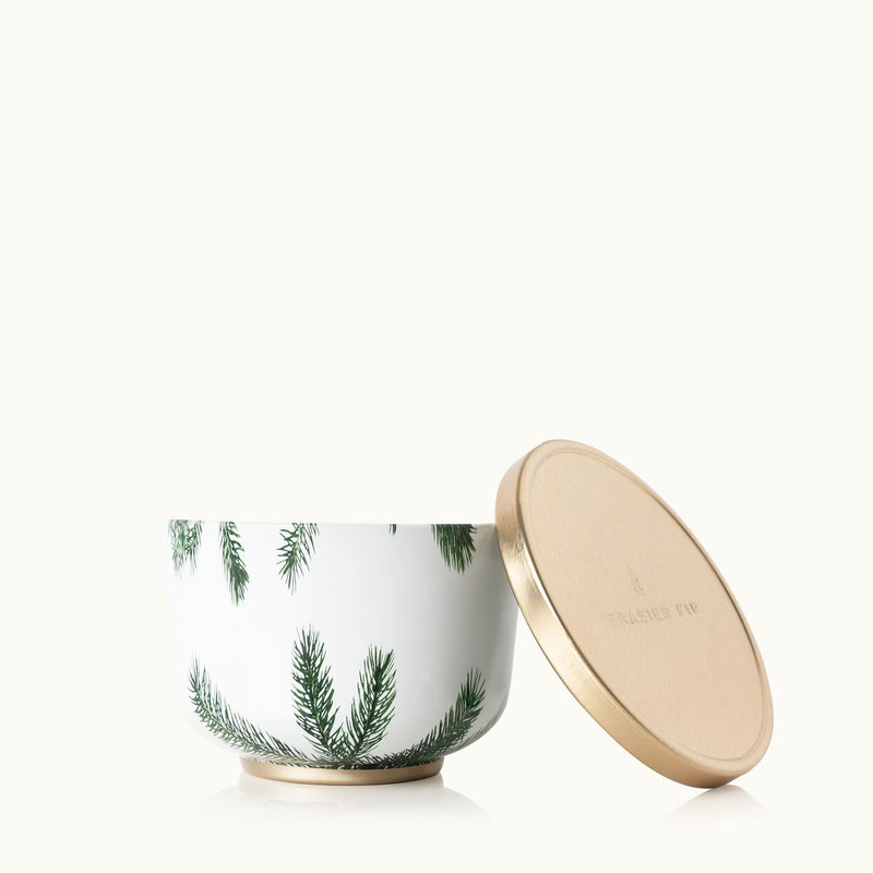 Thymes Frasier Fir Poured Candle Tin, Gold Lid