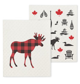 TCE Set Of 2 - Moose/Icon Dish Cloth