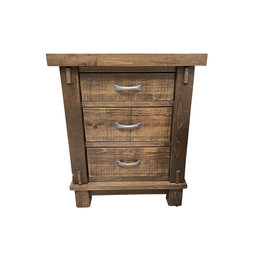 TCE Timber 3 Drawer Nightstand