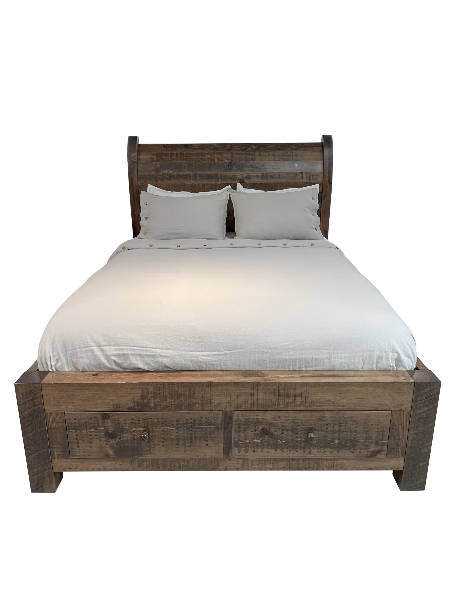 TCE Platform Sleigh Bed With 2 End Drawers