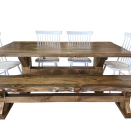 """TCE Barn Series Live Edge Trestle 72"""" Dining Table"""