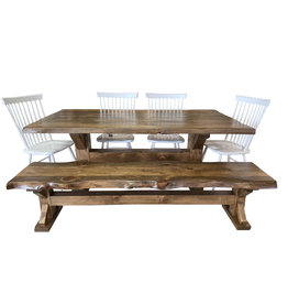 "TCE Barn Series Live Edge Trestle 72"" Dining Table"