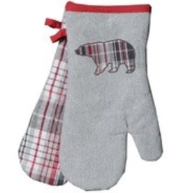TCE Bear & Grey Plaid Oven Mitts