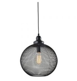 TCE Single Black Wire Mesh Round Pendant