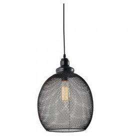 TCE Single Black Wire Mesh Oval Pendant