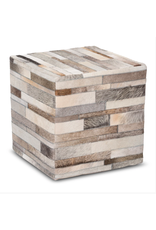 TCE Striped Hide Pouf - Taupe