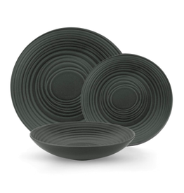 TCE Black Grain 12pc Dinner Set