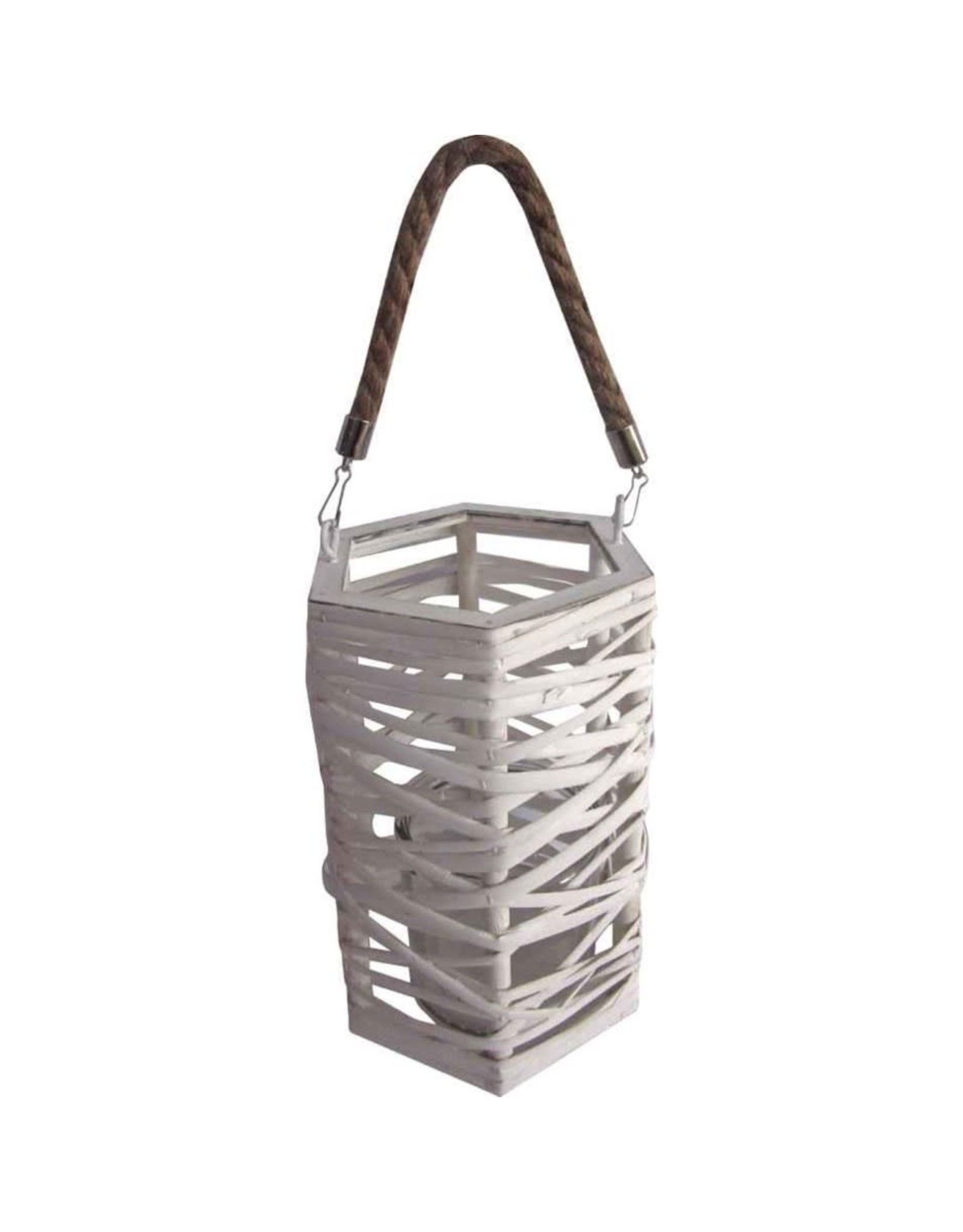 TCE White Wicker Lantern Candle Holder