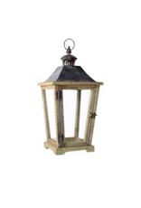 """TCE 20.5"""" Wood/Glass Lantern with Metal Top Brown"""