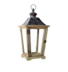 "TCE 20.5"" Wood/Glass Lantern with Metal Top Brown"