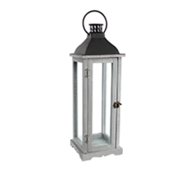 "TCE 22"" Wood/Glass Lantern W/Metal Top Grey"
