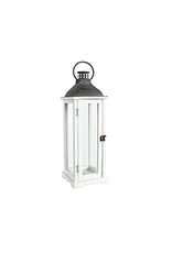 "TCE 22"" Wood/Glass Lantern W/Metal Top White"