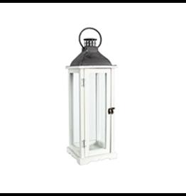 """TCE 22"""" Wood/Glass Lantern W/Metal Top White"""