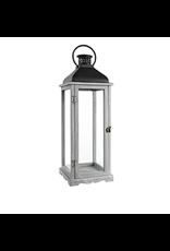 "TCE 26"" Wood/Glass Lantern W/Metal Top Grey"