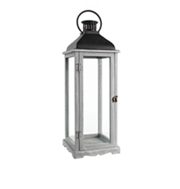 "TCE 26"" Wood/Glass Lantern W/Metal Top Grey"