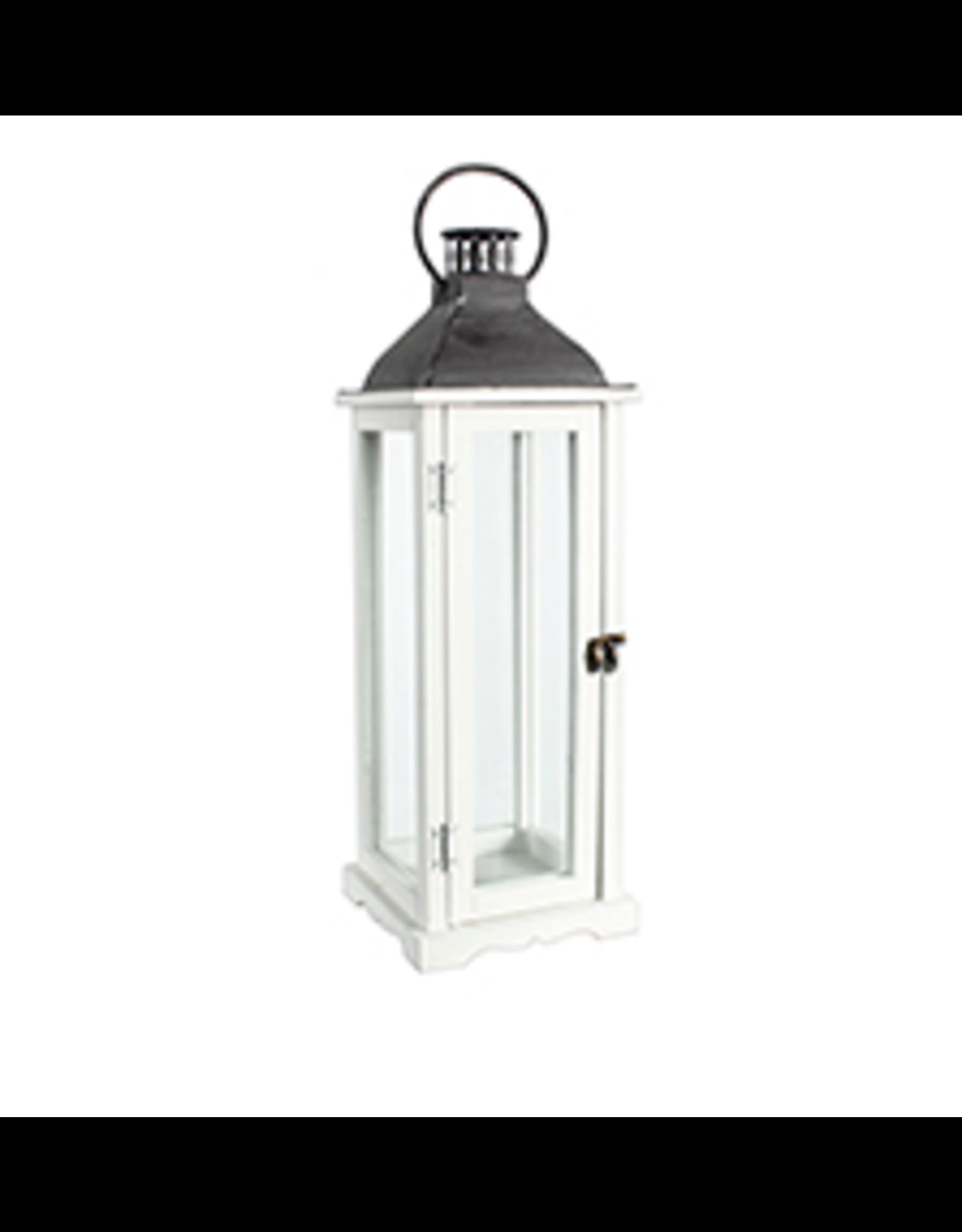 """TCE 26"""" Wood/Glass Lantern W/Metal Top White"""