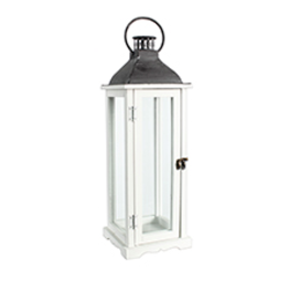 "TCE 26"" Wood/Glass Lantern W/Metal Top White"