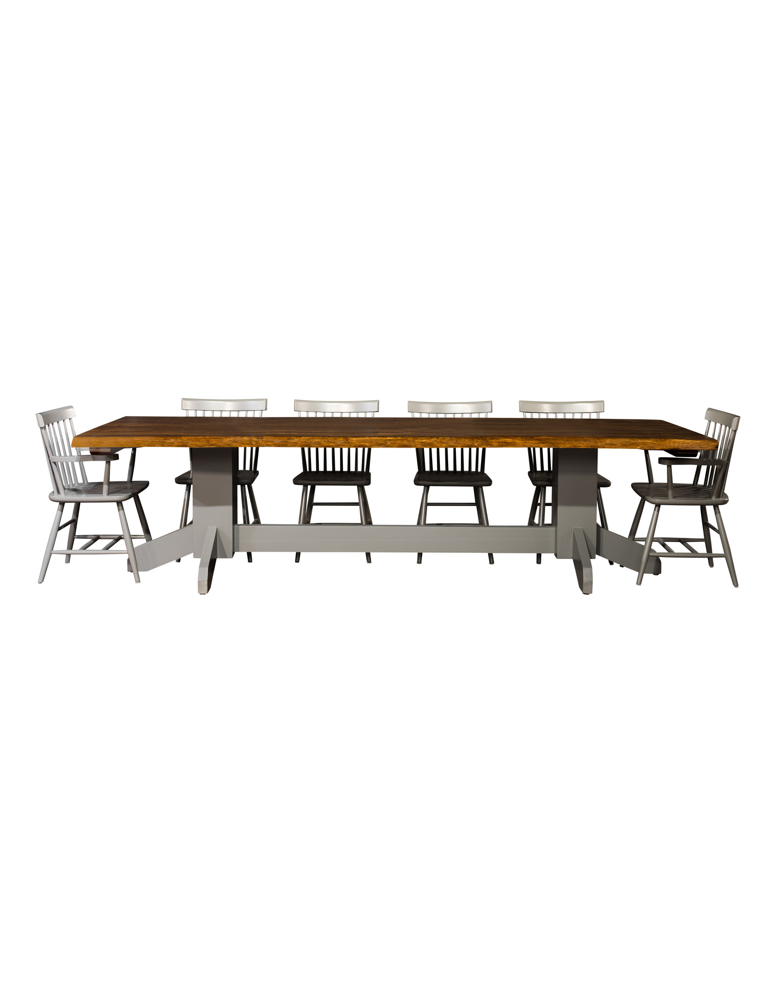"""TCE Live Edge Double Pedestal 72"""" Dining Table"""