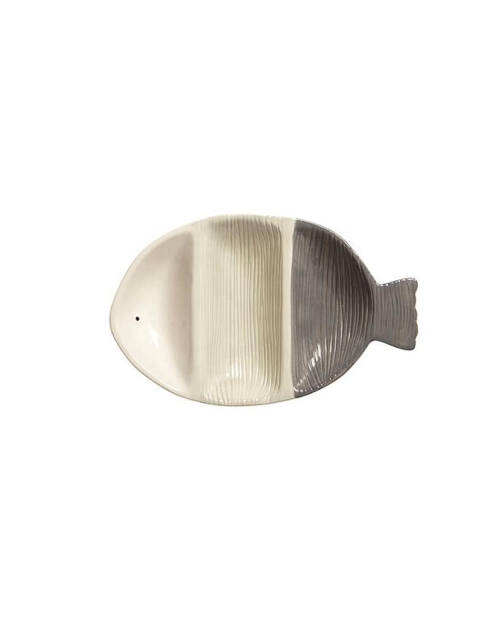 TCE Fish 3 Part Serving Dish Grey