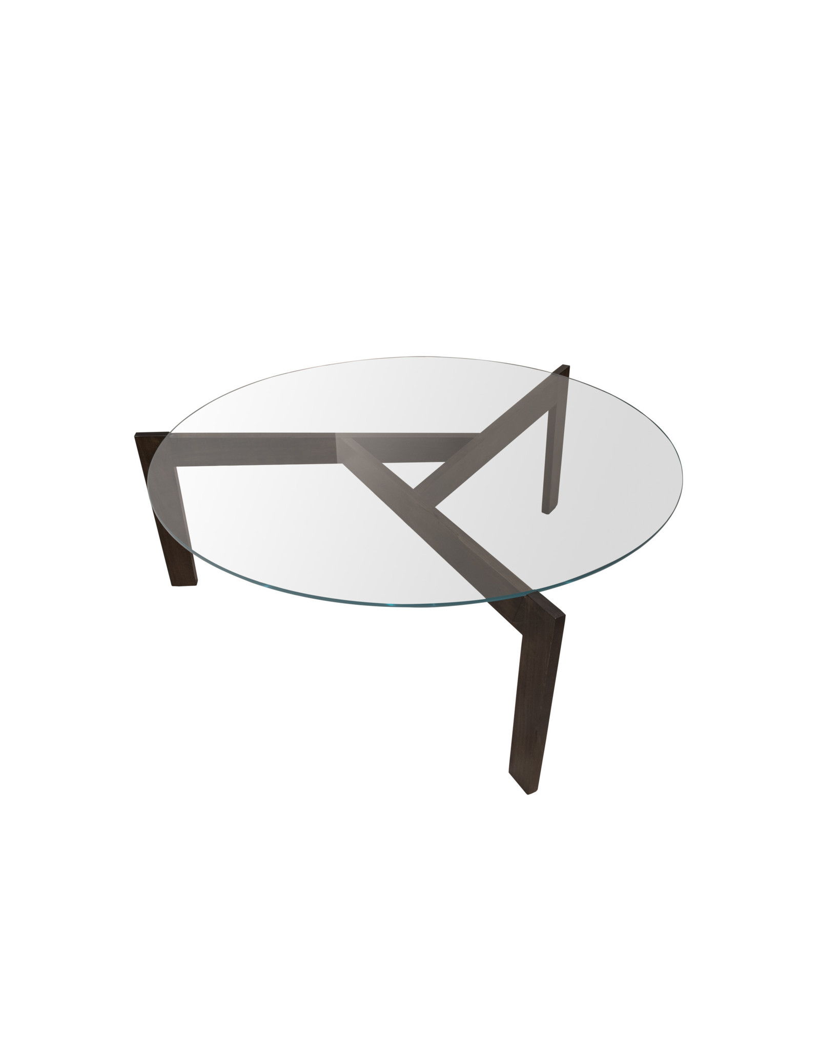 TCE Modern Round Glass and Wood Coffee Table