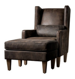 Maxwell Hollister Espresso Leather Chair and Ottoman