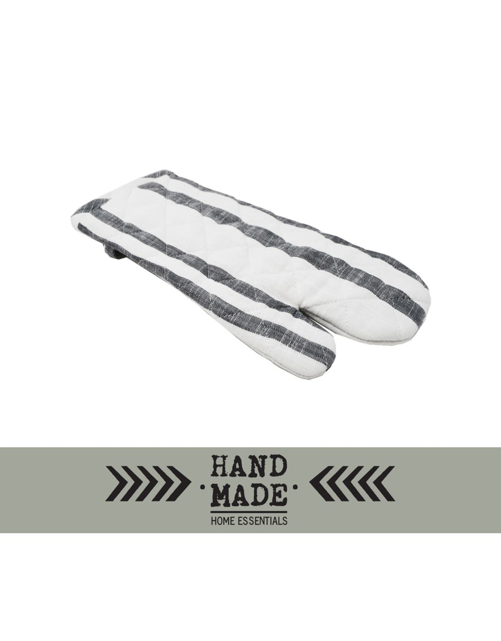 TCE Gray Striped Oven Mits Set of 2