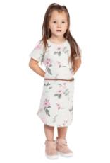 DEX Belted Floral  pink rose midi dress