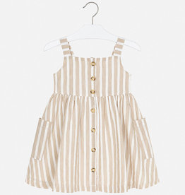 Mayoral Striped Linen Dress - Beige