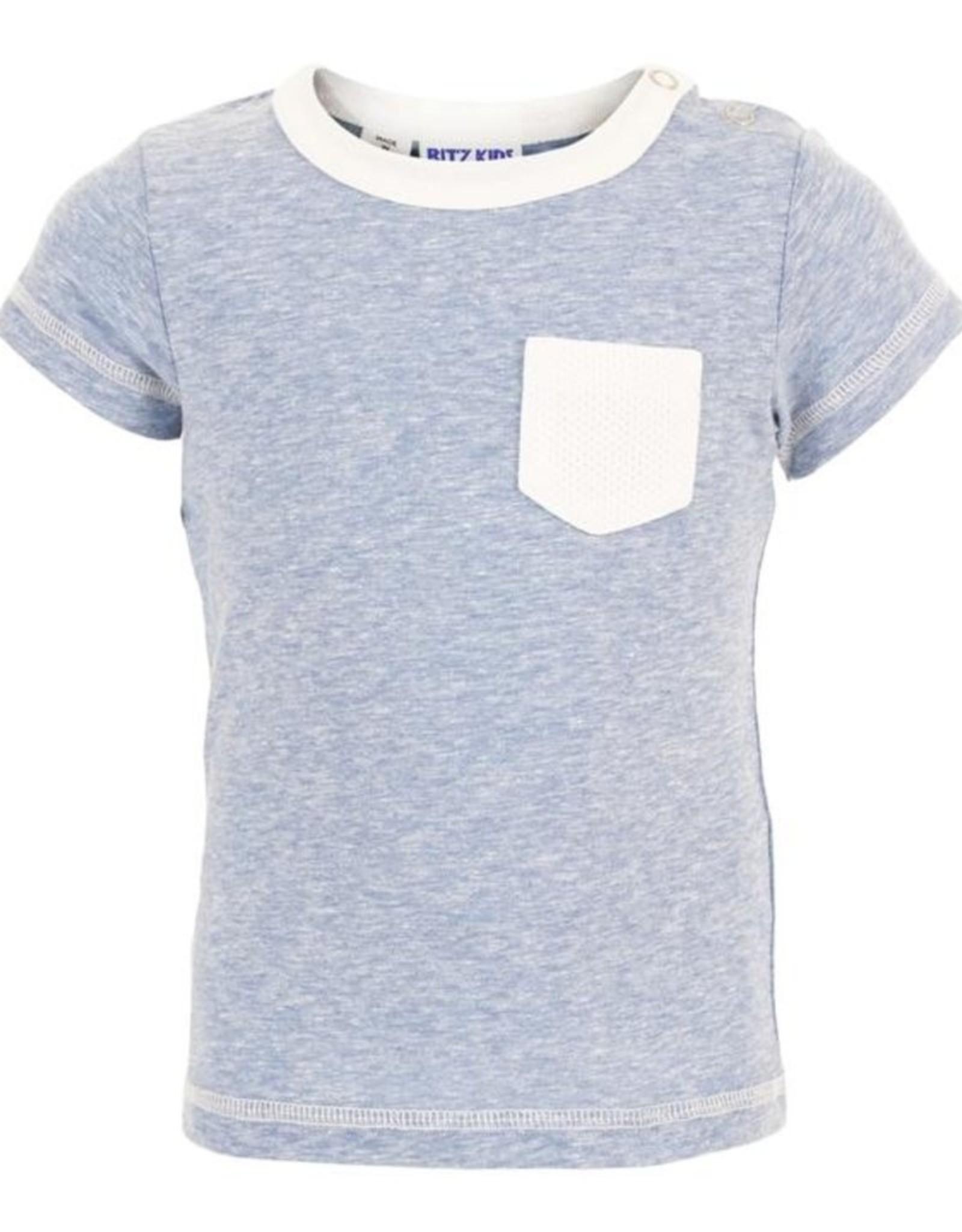 Bit'z Kids Pocket T Shirt - Blue or White
