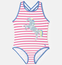 Joules Briony Luxe Pink Stripe Horse  1pce Swimsuit