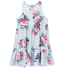 Joules Juno Blue Stripe Floral Tiered Dress