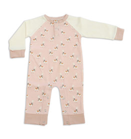 Silkberry Organic Cotton Long Sleeve Sleeper w/ Snaps - Peach Llama