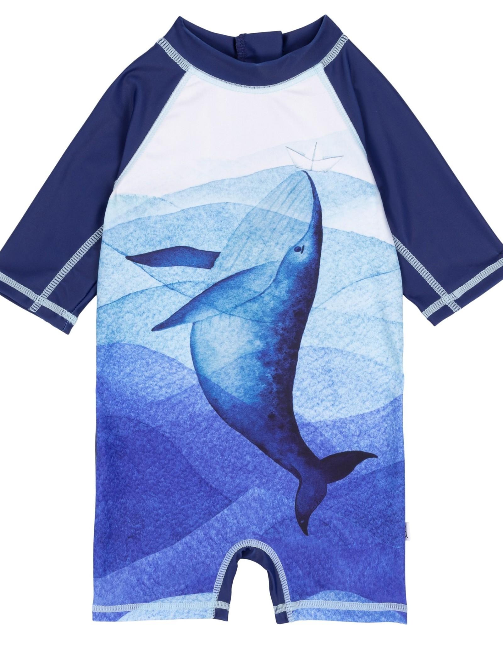 DeuxParDeux Whale Print Swim Bodysuit
