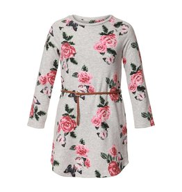 DEX Belted Floral  pink rose midi dress
