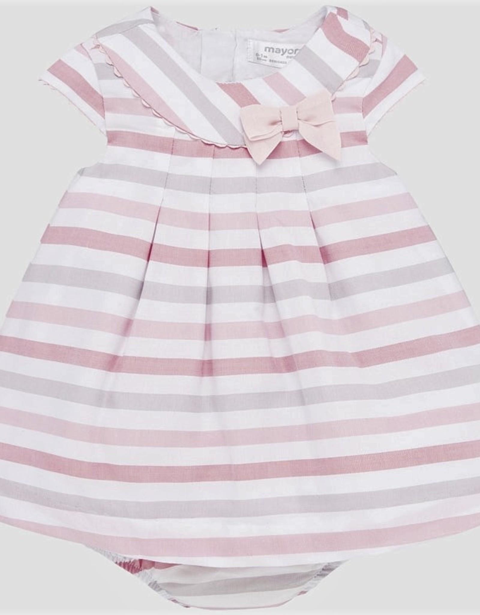 Mayoral Pink striped dress w/bow
