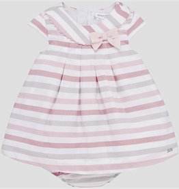 Mayoral Pink striped dress w/bow