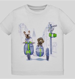 Mayoral Dog Side car print T-shirt