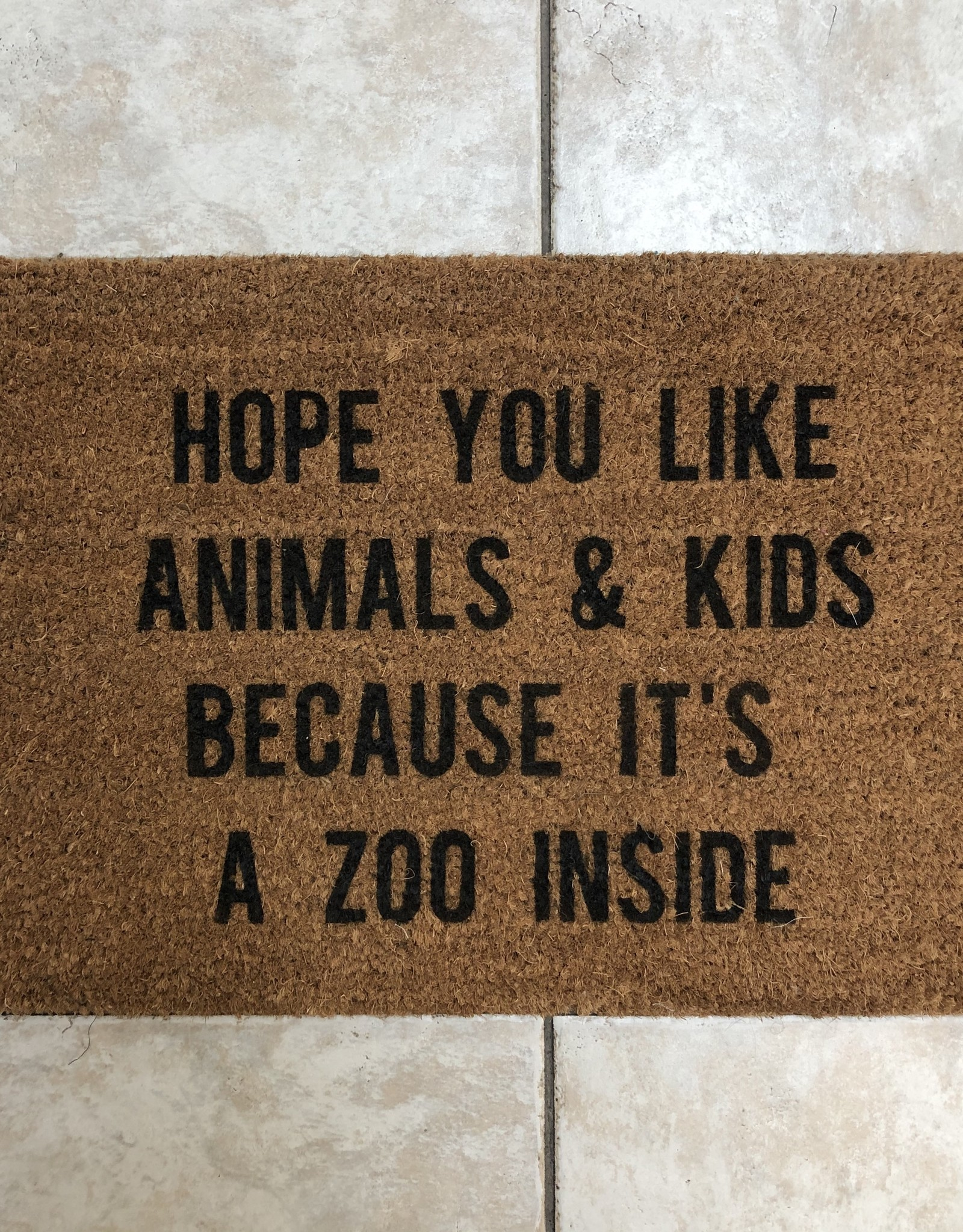 Monkeyfly Hope You Like Animals and Kids Door Mat