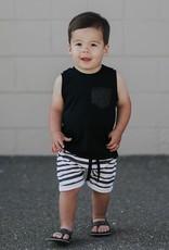 Posh & Cozy Black & White striped Pocket short