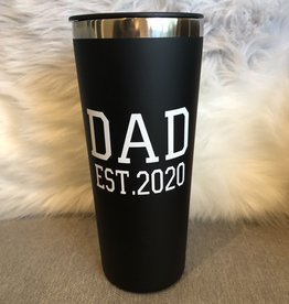 Dad Est. 2020 Black Roadie 22oz S/S Tumbler