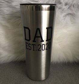 Dad Est. 2020  Silver Roadie 22oz S/S Tumbler