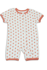 Silkberry Organic Cotton Short Sleeve Romper w/ Zip- Peach