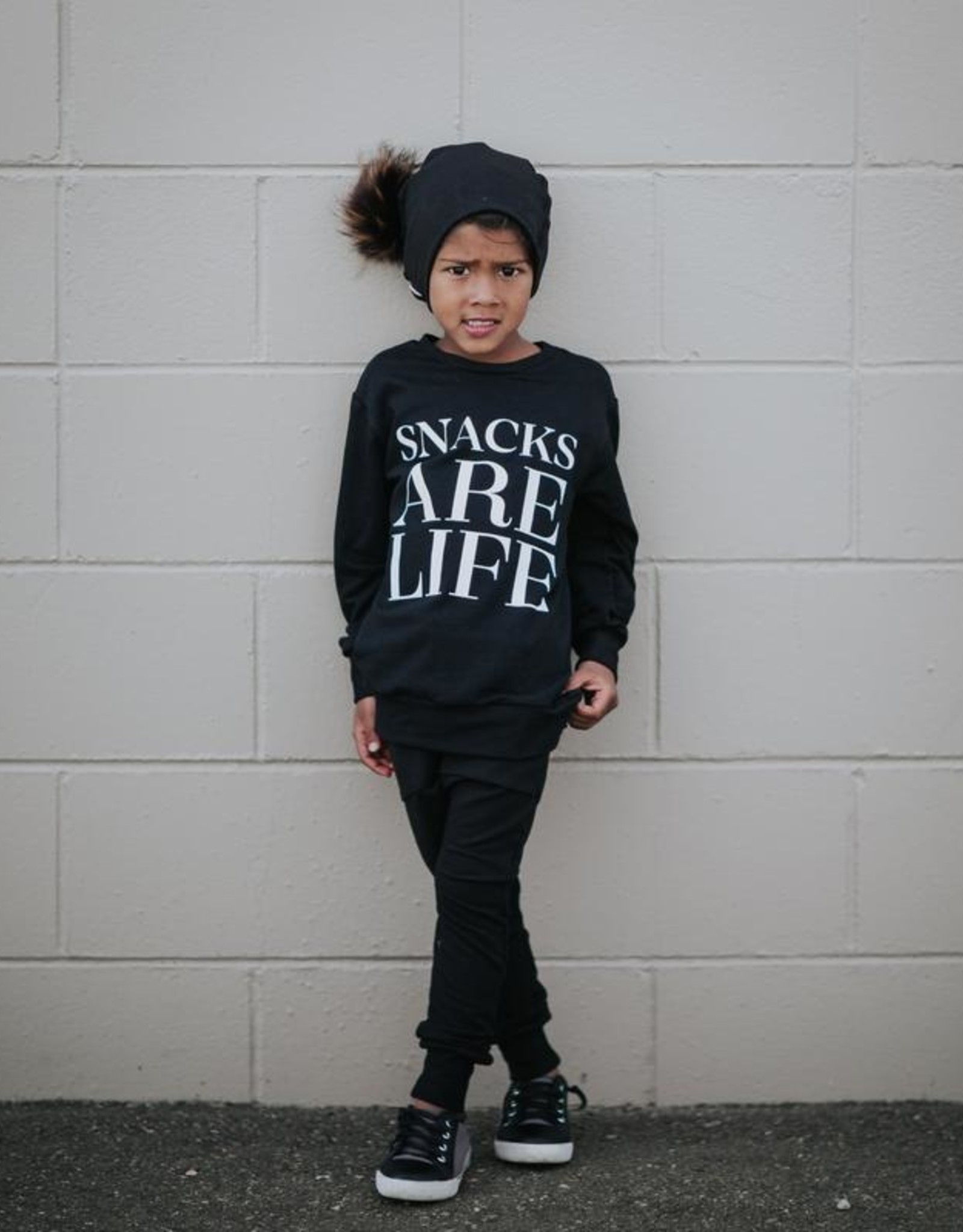 Posh & Cozy Youth Snacks are Life Crewneck - Black